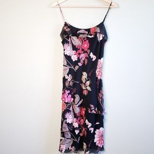 Lily Black & Pink Floral 2 Tier Ruffle Dress A24